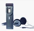 Equipamento de som - gravador com fones de ouvido.